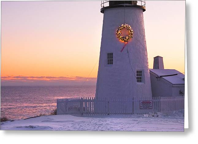 Pemaquid Point lighthouse Christmas Snow Wreath Maine Greeting Card by Keith Webber Jr