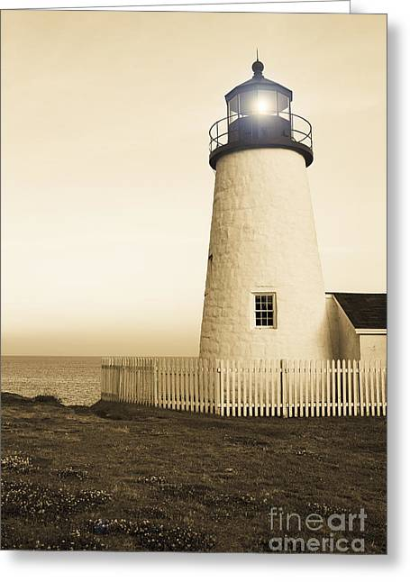 New England Ocean Greeting Cards - Pemaquid Point Lighthouse Greeting Card by Diane Diederich