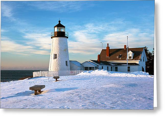 Maine Shore Greeting Cards - Pemaquid Point Lighthouse Greeting Card by Eric Gendron