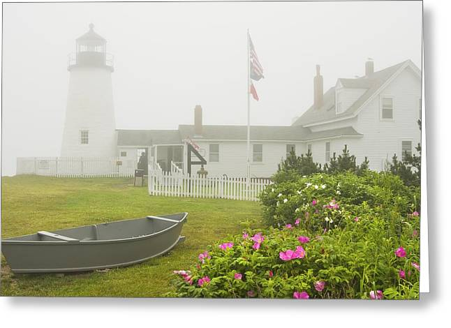 Pemaquid Point Lighthouse In Fog Maine Prints Greeting Card by Keith Webber Jr
