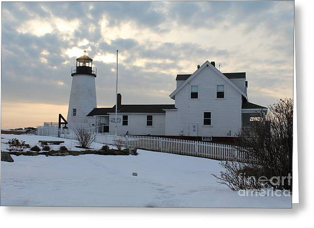 Cape Neddick Greeting Cards - Pemaquid Point Lighthouse In Winter  Greeting Card by Joseph Marquis
