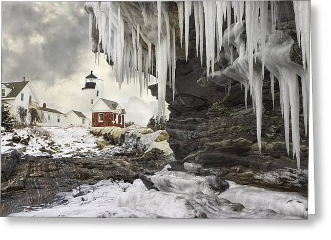 New England Lighthouse Photographs Greeting Cards - Pemaquid Point Lighthouse on the Maine Coast Greeting Card by Keith Webber Jr