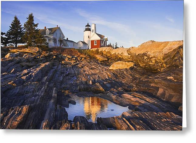 New England Lighthouse Greeting Cards - Pemaquid Point Lighthouse Reflection on the Coast of Maine  Greeting Card by Keith Webber Jr
