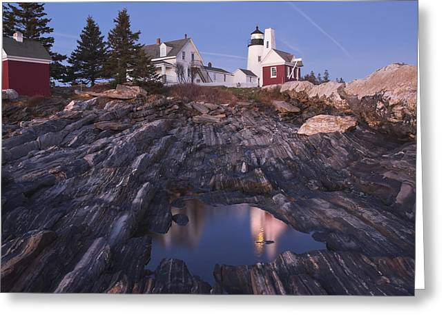 New England Lighthouse Greeting Cards - Pemaquid Point Lighthouse Tide Pool Reflection on Maine Coast Greeting Card by Keith Webber Jr