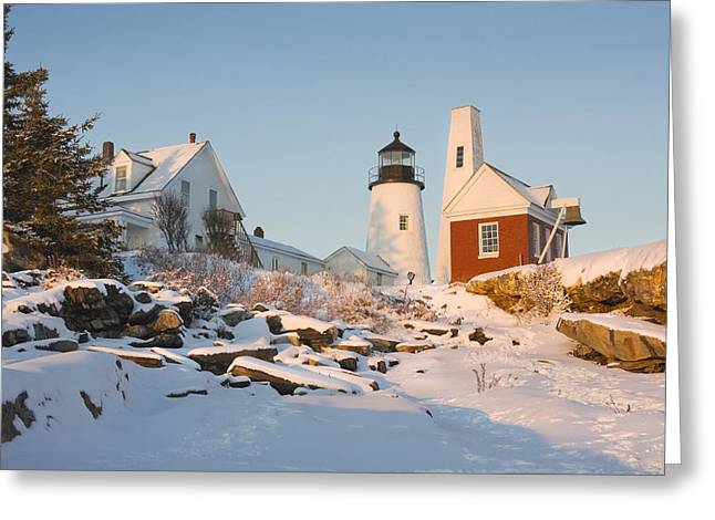 New England Lighthouse Photographs Greeting Cards - Pemaquid Point Lighthouse Winter in Maine  Greeting Card by Keith Webber Jr