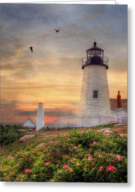 New England Lighthouse Digital Art Greeting Cards - Pemaquid Point Greeting Card by Lori Deiter