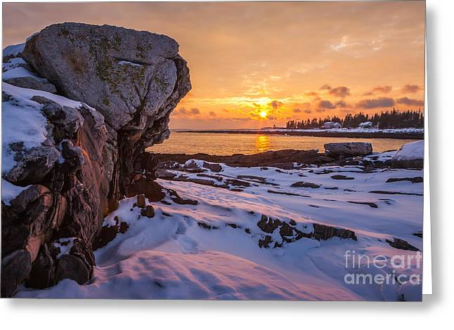 Winter In Maine Greeting Cards - Pemaquid Point Greeting Card by Susan Cole Kelly