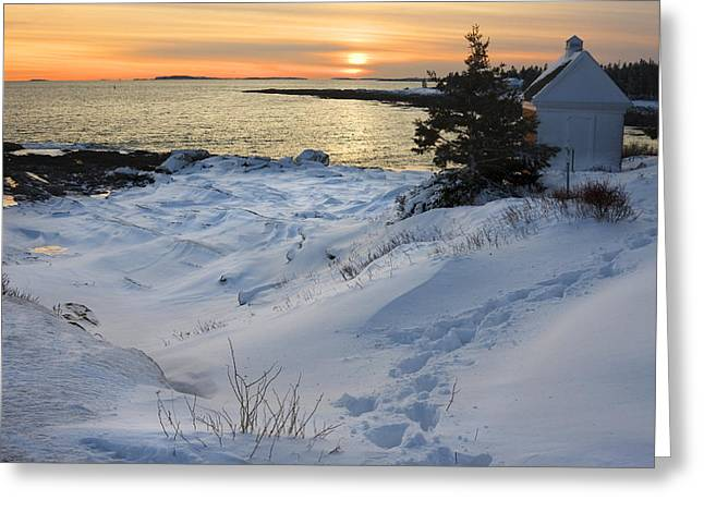New England Lighthouse Photographs Greeting Cards - Pemaquid Point Winter Sunset on the Maine Coast Greeting Card by Keith Webber Jr