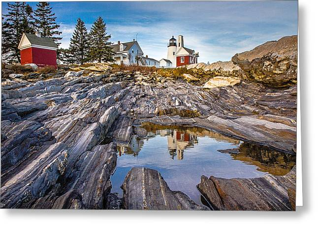 Rocks. Tidal Pool Greeting Cards - Pemaquid Reflection Greeting Card by Robert Clifford