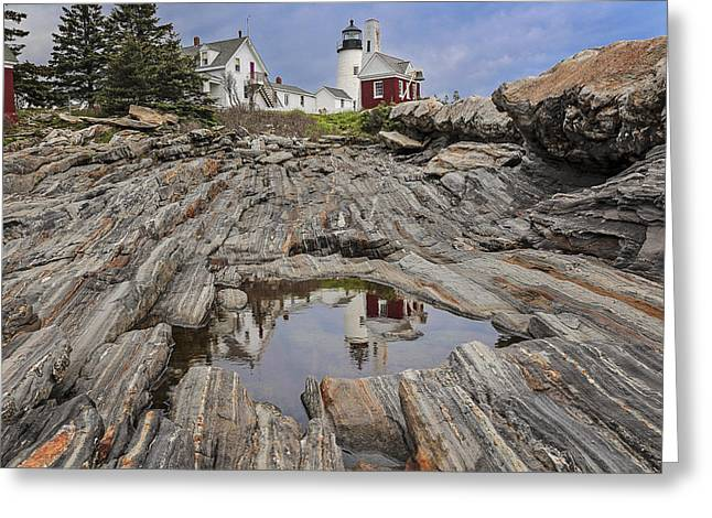 Maine Lighthouses Pyrography Greeting Cards - Pemaquid Reflection Greeting Card by Romiana Lee