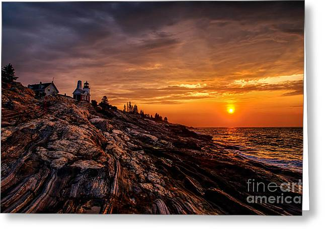 Maine Shore Greeting Cards - Pemaquid Sunrise  Greeting Card by Jerry Fornarotto
