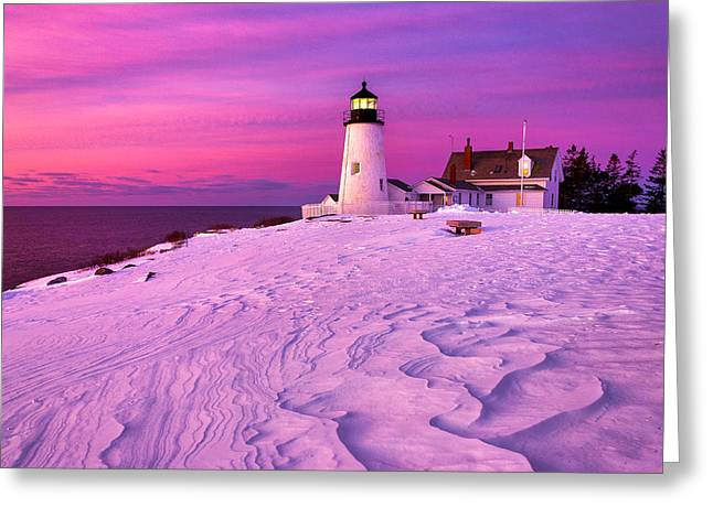 New England Ocean Greeting Cards - Pemaquid Winter Sunrise Greeting Card by Benjamin Williamson