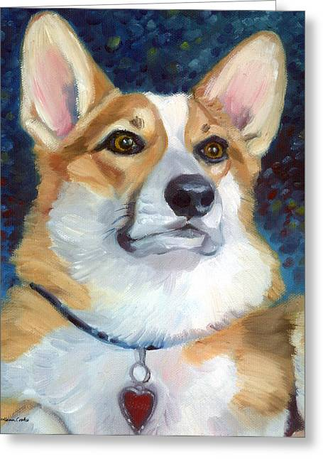Dog Portraits Greeting Cards - Pembroke Welsh Corgi Greeting Card by Lyn Cook