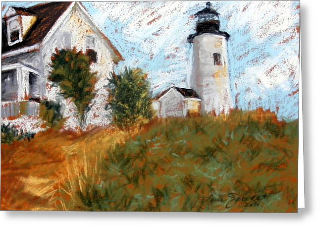 New England Lighthouse Pastels Greeting Cards - Pemiquid Point Light Greeting Card by Lenore Gaudet
