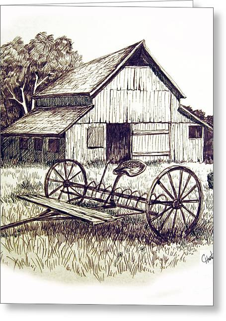 Barn Pen And Ink Greeting Cards - Pen and Ink 8 Greeting Card by Carol Hart