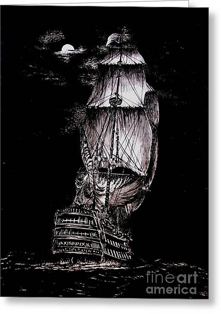Pirate Ships Drawings Greeting Cards - Pen and Ink Drawing of Ghost Boat in black and white Greeting Card by Mario  Perez
