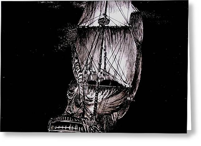 Pen and Ink Drawing of Ghost Boat in black and white Greeting Card by Mario  Perez