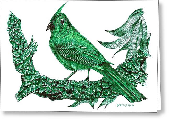 Wild Life Drawings Greeting Cards - Pen and Ink Drawing of Green Bird Greeting Card by Mario  Perez