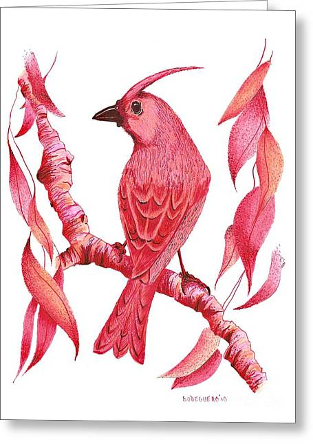 Pen And Paper Greeting Cards - Pen and ink drawing of Red bird Greeting Card by Mario  Perez