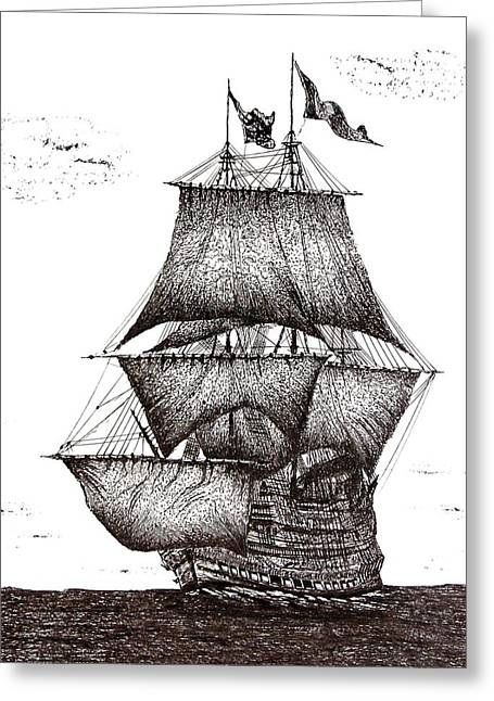 Pirate Ships Drawings Greeting Cards - Pen and Ink Drawing of Sailing Ship in Black and White Greeting Card by Mario  Perez
