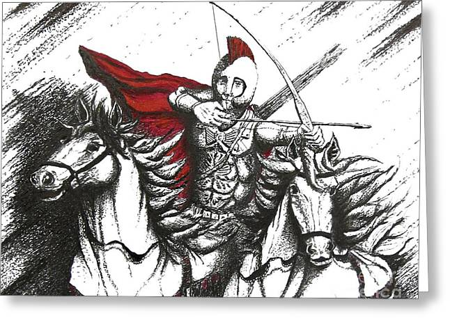 Pen And Paper Greeting Cards - Pen and Ink drawing of Soldier with Horses Greeting Card by Mario  Perez