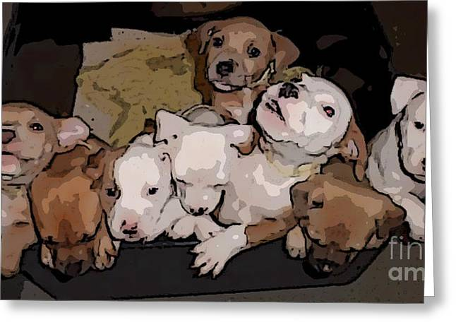 Doggies Greeting Cards - Pen Full of Pitties Greeting Card by Janice Rae Pariza
