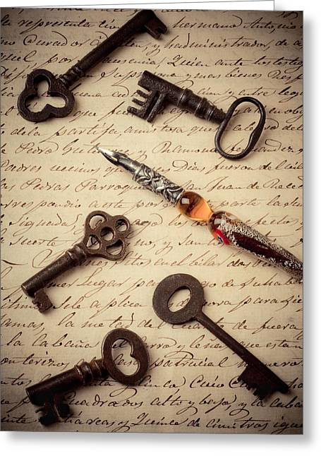 Pen Photographs Greeting Cards - Pen with keys Greeting Card by Garry Gay