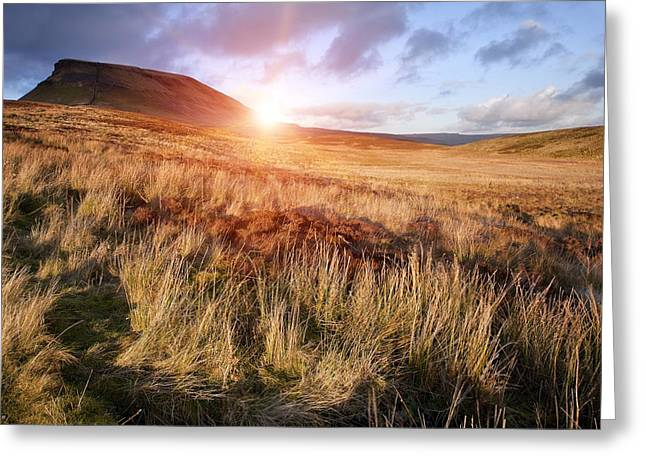 Coorful Greeting Cards - Pen-y-Ghent Greeting Card by Matthew Gibson