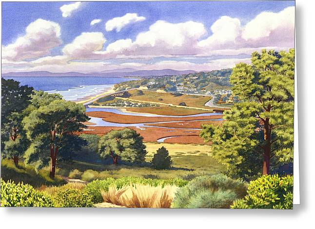 Pines Paintings Greeting Cards - Penasquitos Lagoon with Clouds Greeting Card by Mary Helmreich