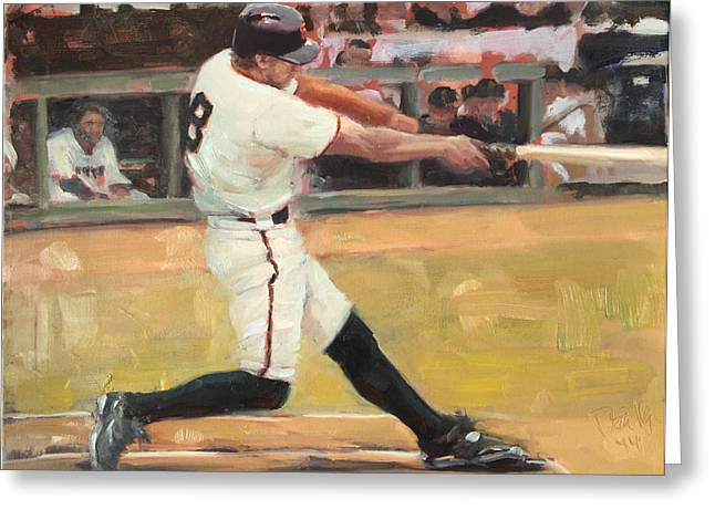Baseball Paintings Greeting Cards - Pence 2014 Greeting Card by Darren Kerr