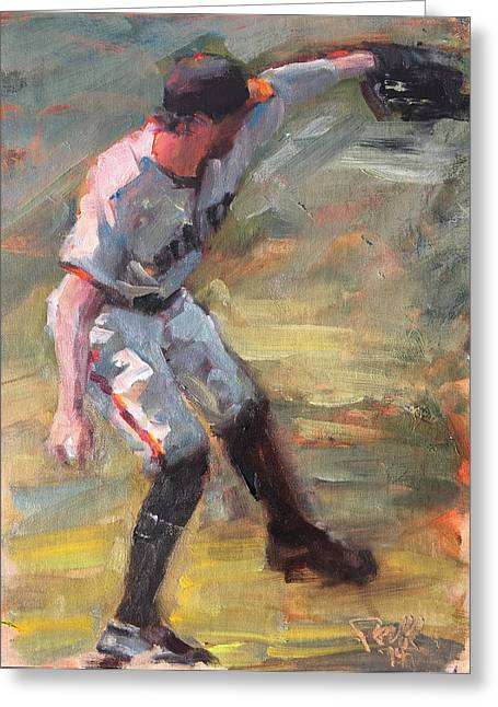 Baseball Paintings Greeting Cards - Pence in Right Greeting Card by Darren Kerr