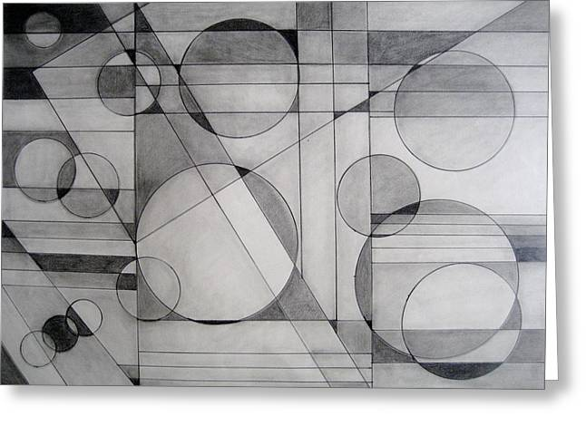 Light And Dark Drawings Greeting Cards - Pencil Abstract Greeting Card by Marge Cari