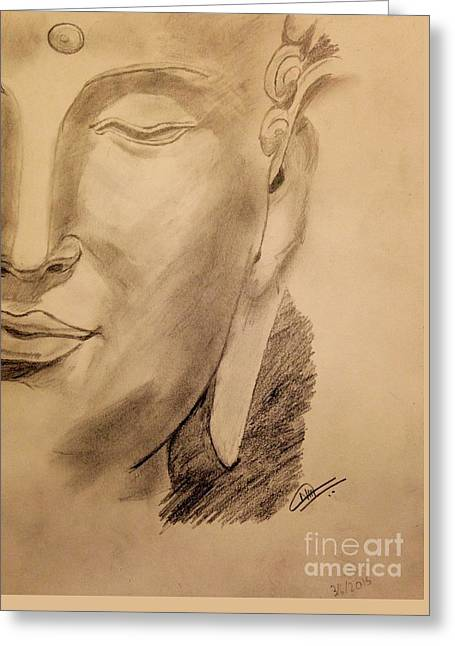 Pencil Buddha  Greeting Card by Navroz  Raje