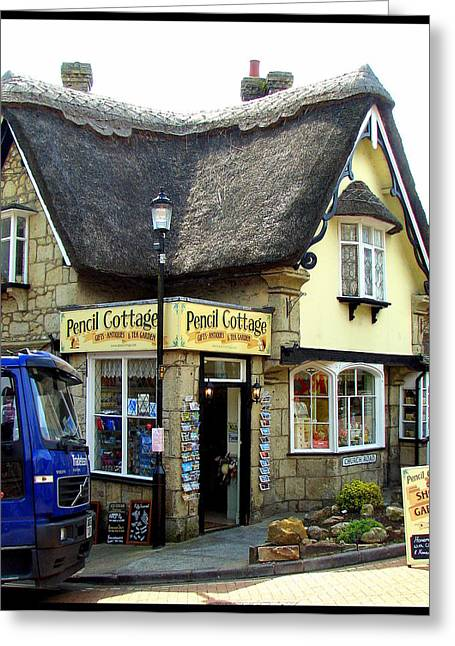 Overhang Greeting Cards - Pencil Cottage in Shanklin on Isle of Wight Greeting Card by Carla Parris