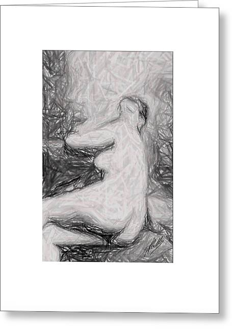 Recently Sold -  - Abstract Digital Drawings Greeting Cards - Pencil drawing Greeting Card by Joaquin Abella
