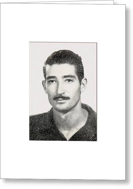 Republican Drawings Greeting Cards - Pencil portrait of Floreal By Quim Abella Greeting Card by Joaquin Abella