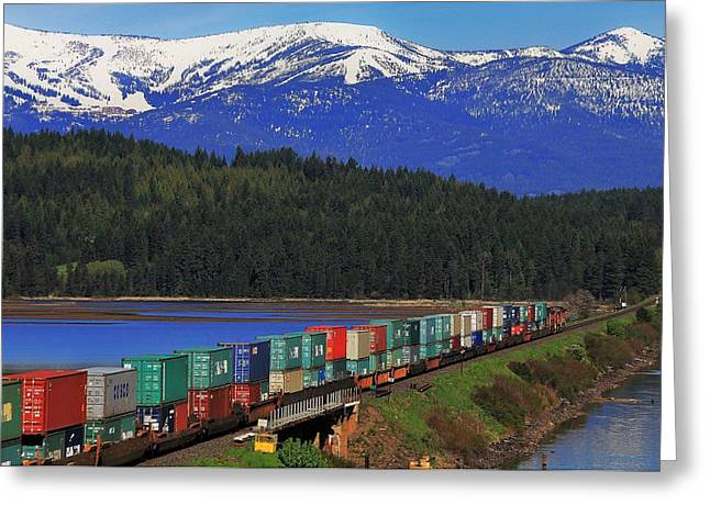 Burlington Northern Greeting Cards - Pend Oreille Freight Greeting Card by Benjamin Yeager