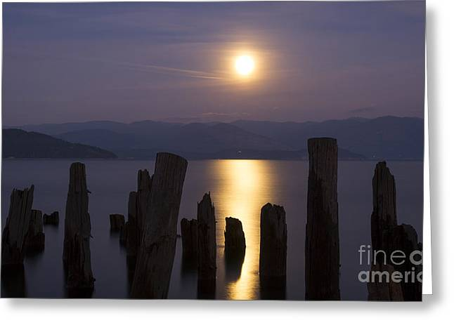 Lake Pend Oreille Greeting Cards - Pend Oreille Moon Greeting Card by Idaho Scenic Images Linda Lantzy