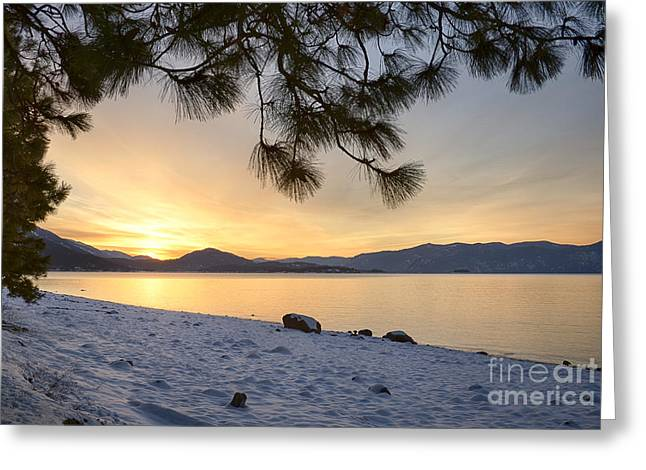 Lake Pend Oreille Greeting Cards - Pend Oreille Sunrise Greeting Card by Idaho Scenic Images Linda Lantzy