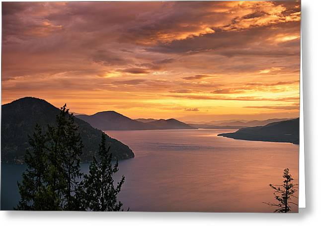 Lake Pend Oreille Greeting Cards - Pend Oreille Sunrise Greeting Card by Leland D Howard