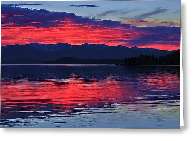 Sandpoint Greeting Cards - Pend Oreille Sunset Greeting Card by Benjamin Yeager