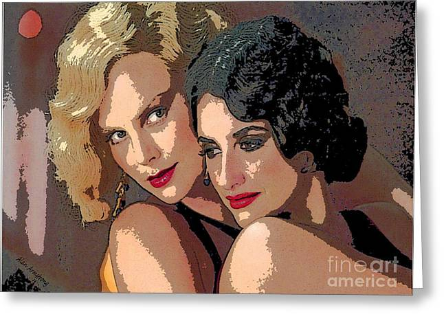 Penelope Cruz Greeting Cards - # 31 Penelope Cruz and Charlize Theron Greeting Card by Alan Armstrong