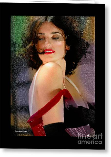 Pirates Greeting Cards - Penelope Cruz head and shoulder portrait Greeting Card by Alan Armstrong