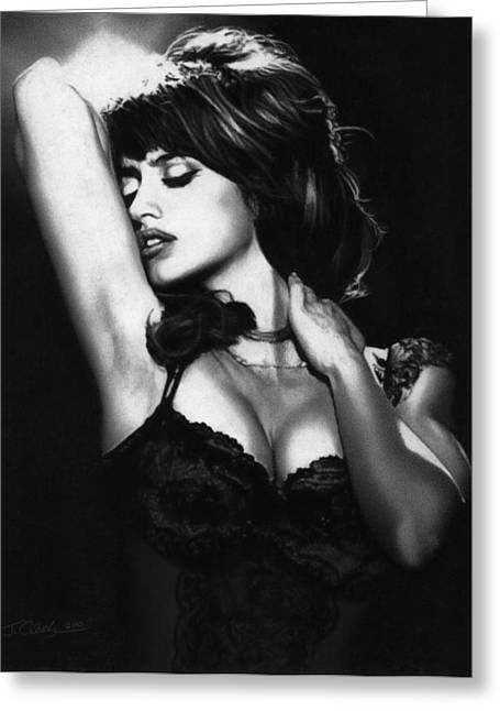 Barcelona Drawings Greeting Cards - Penelope Cruz Greeting Card by Justin Clark