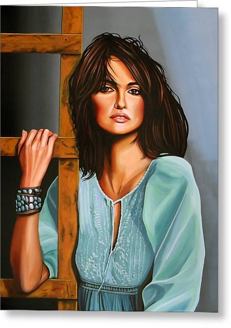 Portrait Of Mother Teresa Greeting Cards - Penelope Cruz Greeting Card by Paul Meijering