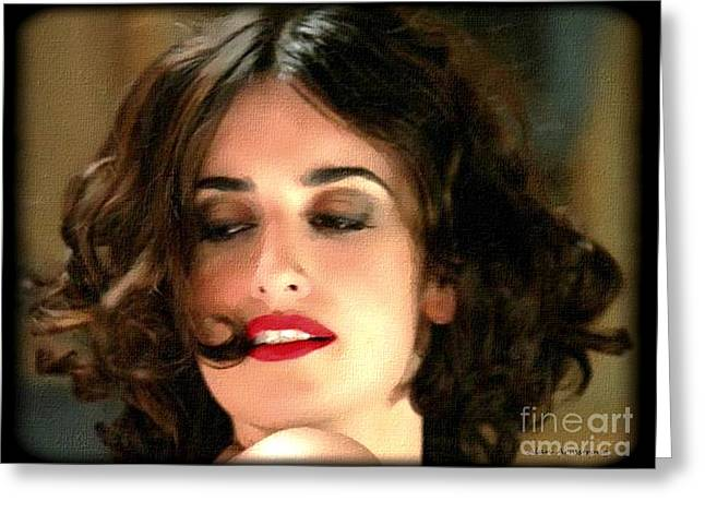Penelope Cruz Greeting Cards - # 17 Penelope Cruz Portrait Greeting Card by Alan Armstrong