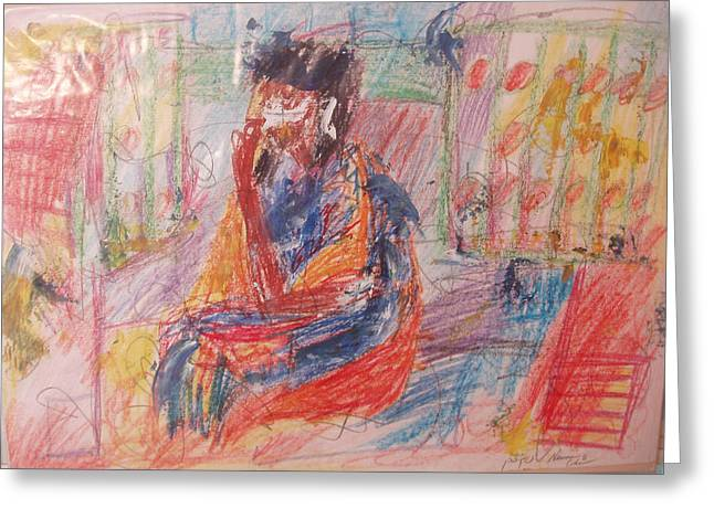 Pensive Drawings Greeting Cards - Penelope Pensive Greeting Card by Esther Newman-Cohen