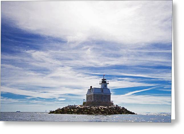 Long Island Sound Greeting Cards - Penfield Reef Lighthouse Fairfield Connecticut Greeting Card by Stephanie McDowell