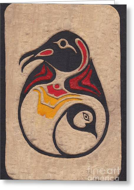 Wood Carving Reliefs Greeting Cards - Penguin and Chick Greeting Card by Penguin M