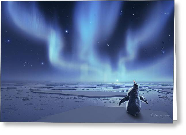 Dramatic Digital Greeting Cards - Penguin Dreams Greeting Card by Cassiopeia Art